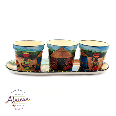 Ceramic Flower Pots Set Tray Village