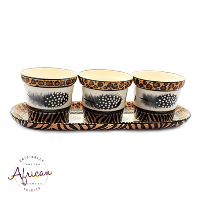 Ceramic Flower Pots Set Tray Tribal