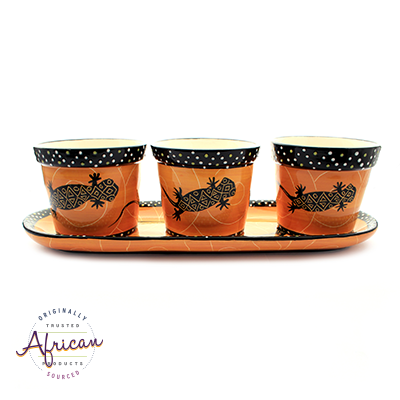 Ceramic Flower Pots Set Tray Orange Lizard