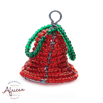 Beaded 3D Christmas Bell (Red)