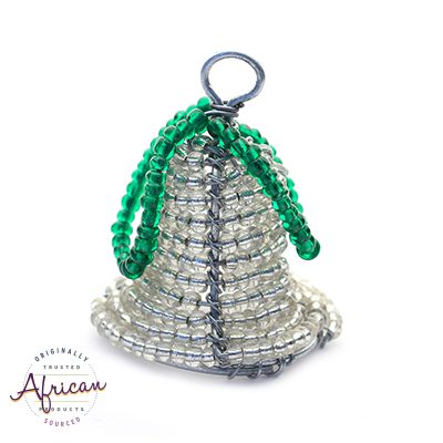 Beaded 3D Christmas Bell (Silver)