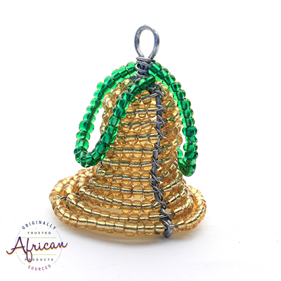 Beaded 3D Christmas Bell (Gold)