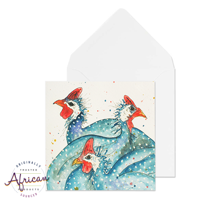 Greetings Card - Three Guinea Fowls