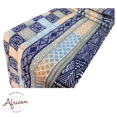 Kudhinda Table Runner 200x40cm (unlined) – Elephant (Blue Steel)