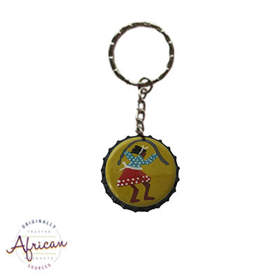 Painted Bottle Tops - Keyring: Lady Skipping