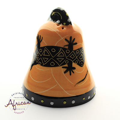 Ceramic Christmas Bell Decoration Orange Lizard