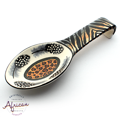 Ceramic Spoon Rest Tribal