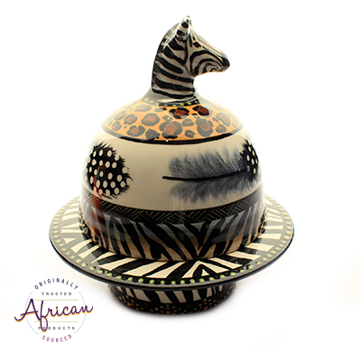 Ceramic Domed Butter Dish Tribal