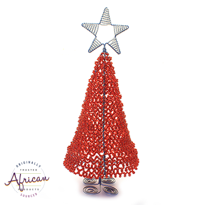 Beaded 3D Christmas Tree (Red)