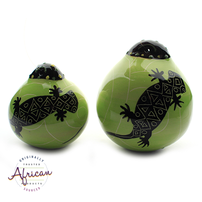 Ceramic Christmas Ball Decoration Green Lizard