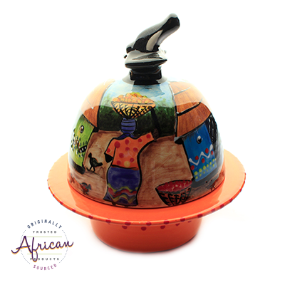 Ceramic Domed Butter Dish Village