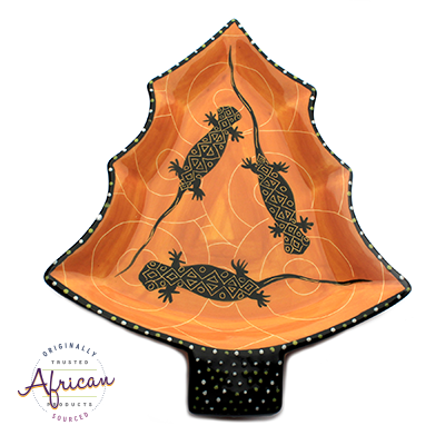 Ceramic Christmas Snack Plate Orange Lizard