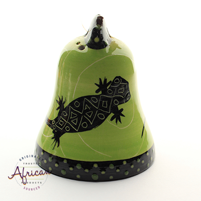 Ceramic Christmas Bell Decoration Green Lizard
