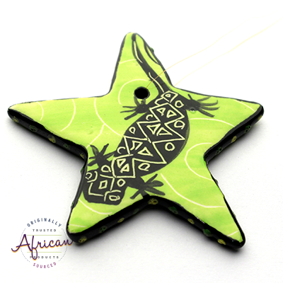 Ceramic Christmas Star Decoration Green Lizard