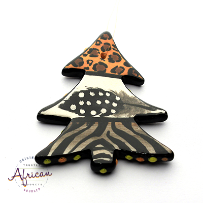 Ceramic Christmas Tree Decoration Tribal