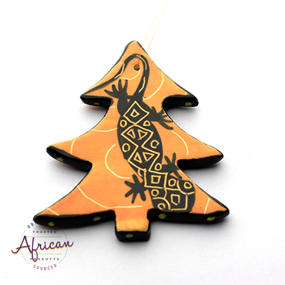 Ceramic Christmas Tree Decoration Orange Lizard