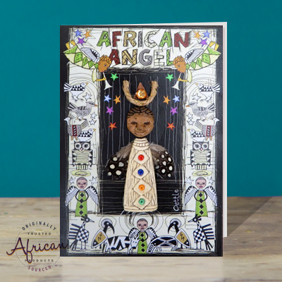 Hand Made African Greetings Card - African Angel