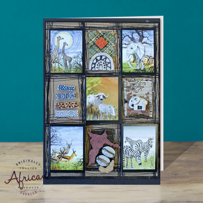 Hand Made African Greetings Card - African Animals