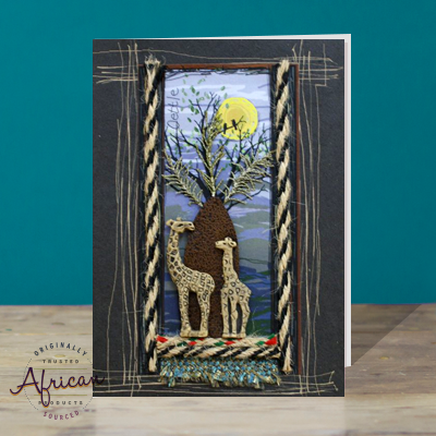 Hand Made African Greetings Card - Baobab Tree with Bookmark