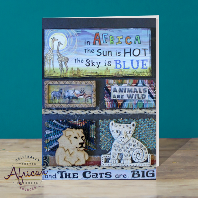 Hand Made African Greetings Card - Big Cats