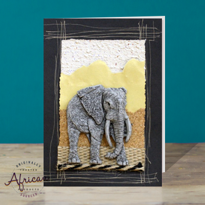 Hand Made African Greetings Card - Elephant Bull