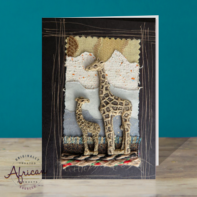 Hand Made African Greetings Card - Big Giraffe