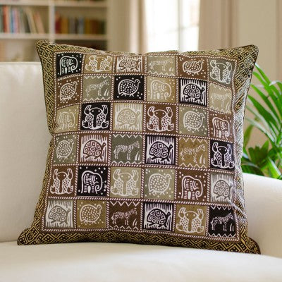 Kudhinda Cushion Cover 55x55cm – African Animal (Charcoal)