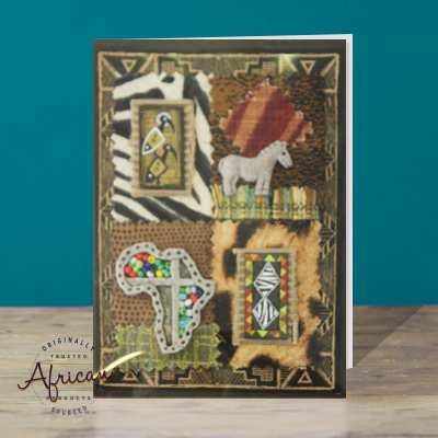 Hand Made African Greetings Card - Africa Map