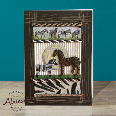 Hand Made African Greetings Card - Zebra