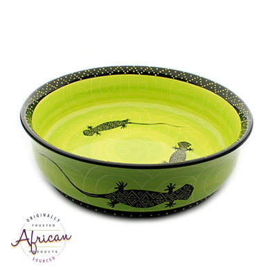Medium Salad/Fruit Bowl Green Lizard