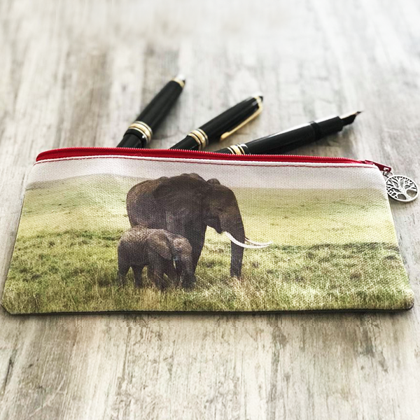 Stationery Bag/Pencil Case - Elephants (Mother & Baby)