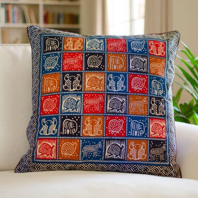 Kudhinda Cushion Cover 55x55cm – African Animal (Ghana Blue)