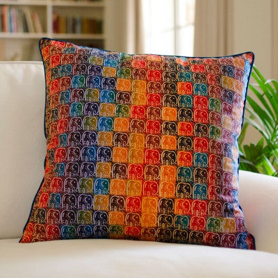 Kudhinda Cushion Cover 40x40cm –  Large Elephant (Ghana Blue)
