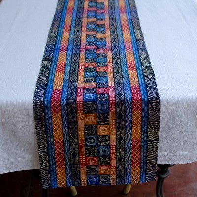 Kudhinda Table Runner 200x40cm (unlined) – Elephant (Ghana Blue)