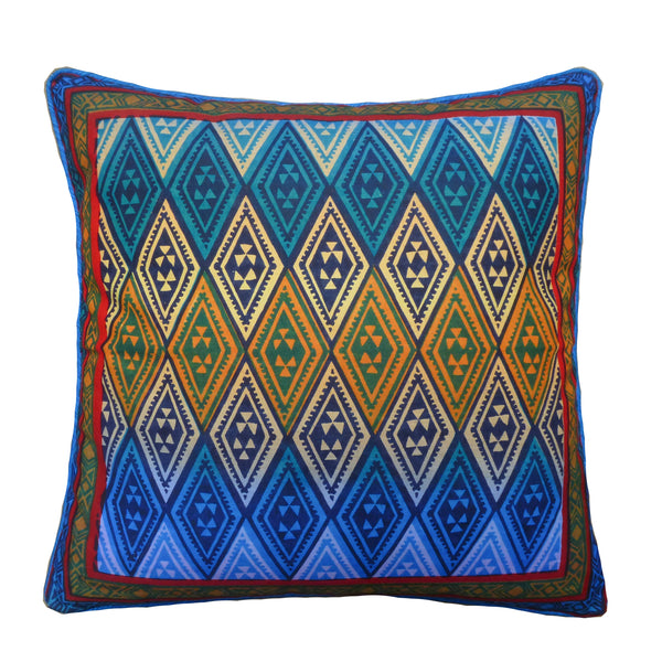 Kudhinda Cushion Cover 40x40cm -  Geometry (Ghana Blue)