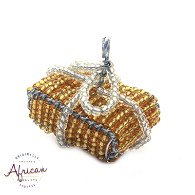Beaded Christmas Present Decoration (Gold/Silver)