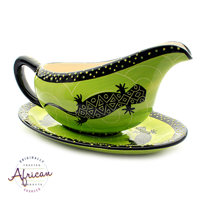Ceramic Gravy Boat Green Lizard