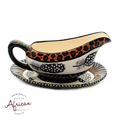 Ceramic Gravy Boat Tribal