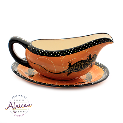 Ceramic Gravy Boat Orange Lizard
