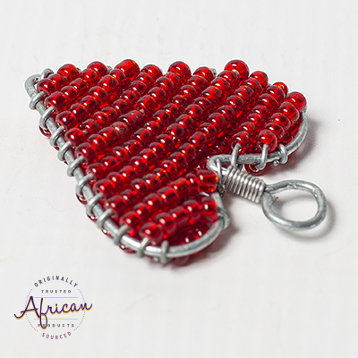 Valentine Beaded Heart Keyring