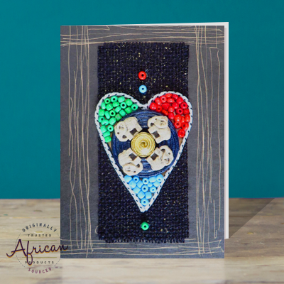 Hand Made African Greetings Card - Heart