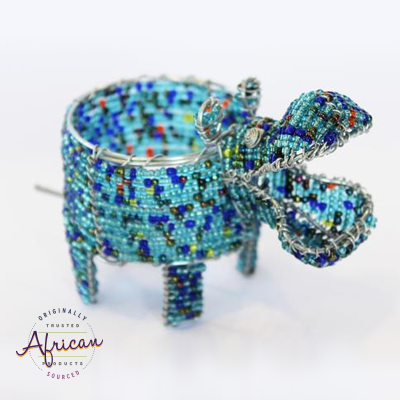 Beaded Hippo Tealight Holder (Light Blue)