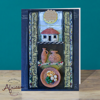 Hand Made African Greetings Card - House and Home