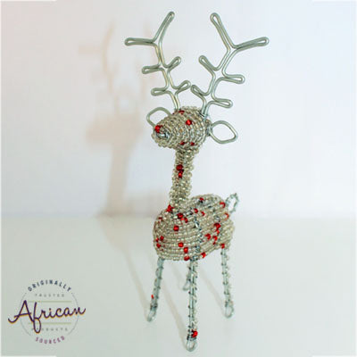 Beaded Christmas 3D Reindeer - Silver/White