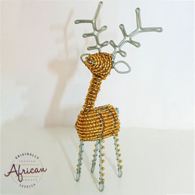 Beaded Christmas 3D Reindeer - Gold