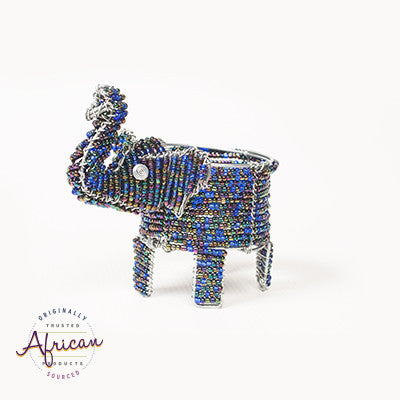 Beaded Elephant Tealight Holder (Dark Blue)