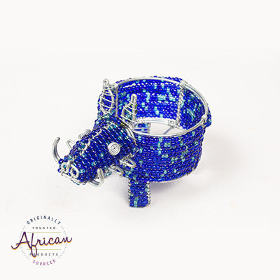 Beaded Warthog Tealight Holder (Blue)