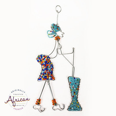 Beaded African Woman A Wire Wall Hanging