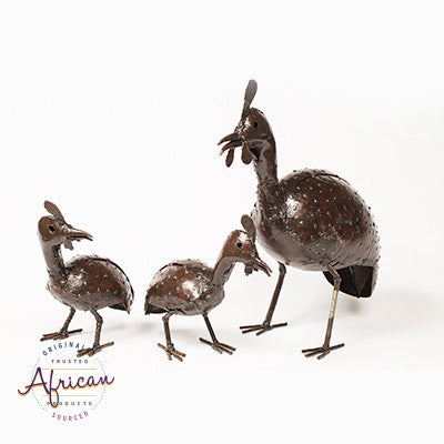 Recycled Metal Guinea Fowl Family Set of 3