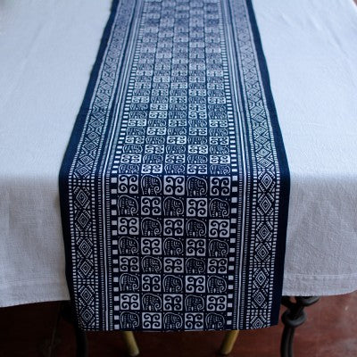 Kudhinda Table Runner 200x40cm (unlined) – Elephant (Blue Curl)